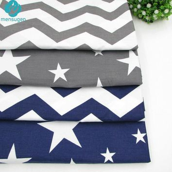4pcs/lot 40cm*50cm Grey Dark Blue Stars Chevron Printed Cotton Fabric for Home Textile Bedding Quilting Tissue to Patchwork