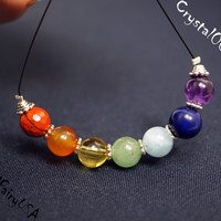 8mm 7 chakra stone necklace, multi color gemstone bar boho necklace