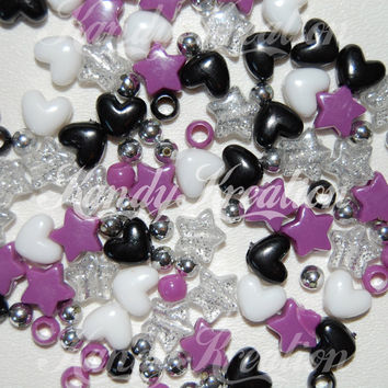 100 Hearts Stars Round Mixed Pony Beads Silver Glitter Chrom Colored White Black Purple for Kandi Rave Craft Kandy Raver Bracelets Necklaces