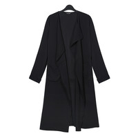 Plus Size Black Open Front Notched Collar Long Sleeve Blazer
