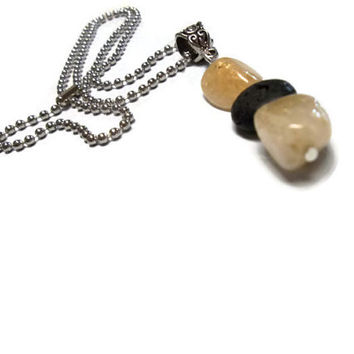 Yellow Citrine Lava Rock Aromatherapy Perfume Pendant Necklace Handmade Chakra Reiki Yoga Metaphysical Jewelry