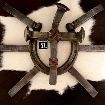 Railroad Spike Horseshoe Cross Sunburst Metal Cross Railroad Spike Art Rustic Metal Crosses Horseshoe Cross Western Horseshoe Art RSC-032