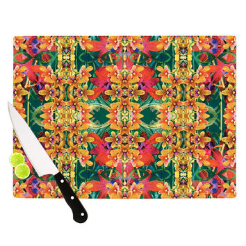 "Dawid Roc ""Tropical Floral"" Orange Pink Cutting Board"