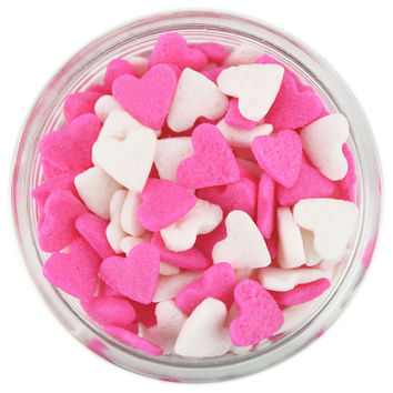 Pink White Heart Sprinkles