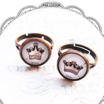 King & Queen Crown Rings, Matching Couples Rings Name Ring, Set of 2 Rings, Personalized Ring, Vintage Brass Rings-Best  Gifts