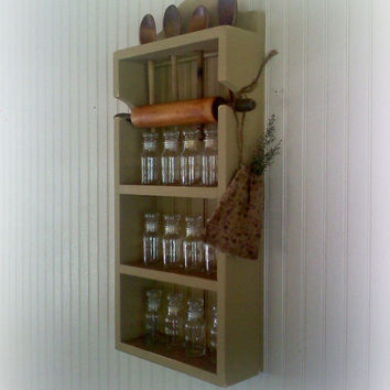 Spice Rack Rolling Pin Spoon Collectibles Shelf by FirecrackerKid