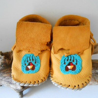 Beaded Children's Moccasins in Toddler Sizes, Custom Handmade, Elk Hide Moccasins, Native American, Handsewn, Powwow, Regalia, Mountain Man
