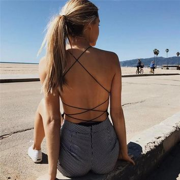 Strappy Backless Bodysuit Women Black Sleeveless Rompers Summer Beach Hot Bodysuits 2017 new Scoop Neck Cross Slim Cami Bodysuit