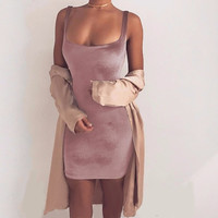 Velvet Sexy short dress women spring summer bodycon dress 2017 Elegant Sleeveless Backless mini dress vestidos