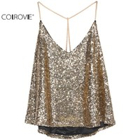 COLROVIE 2016 Women Fashion Sexy Tops Clothing Brand Beachwear Fashion New Black Spaghetti Strap Gold Sequined Chiffon Camis