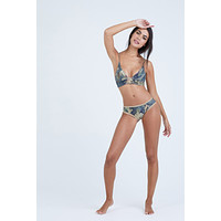 Dana The Delinquent Triangle Bikini Top - Everglade Tan Floral Print