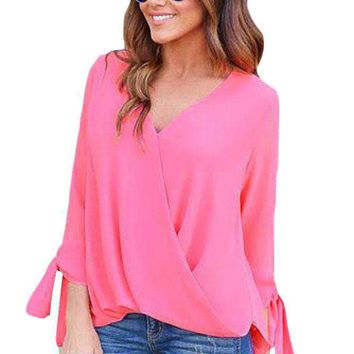 Rosy Womens V Neck Ruched Tie Sleeve Top