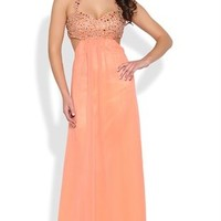 Long Homecoming Dress with Beaded Halter Bodice and Side Cut Outs