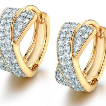 STYLEDOME Amazing Flash AAA Cz Stone Pave Setting Cubic Zircon Crystal Gold-color Fashion Hoop Earrings For Women ME213