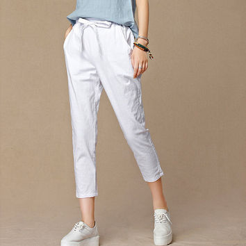 2016 summer new women's casual pants capris fashion cotton Linen crops pants elastic waist harem pants trousers size 4XL