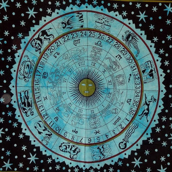 "trendyystuff 1 X Zodiac Tapestry Wall Hanging Horoscope Tapestry Indian Astrology Hippie Wall Tapestries for Dorms Boho Twin Bedding Zodiac Tapestry. (85"" X 55')"