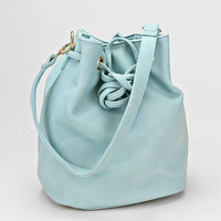 Baby Blue Leather Drawstring Bucket Bag, Convertible Baby Backpack
