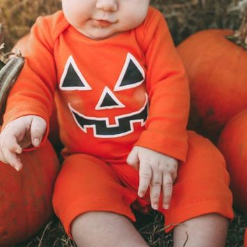 Pumpkin Romper Toddler Halloween Baby Girl Long Sleeve Romper Fall Baby Clothes Halloween Outfits Newborn Onesuit Fashion Party