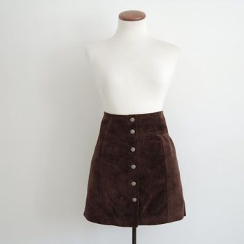 chocolate brown suede mini skirt - 90s vintage GAP soft leather short tight mod high waisted snap front panel pencil skirt - xs small