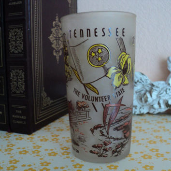Tennessee Souvenir Frosted Glass Tumbler Tennessee Memorabilia 1950's Hazel Atlas Glass Company