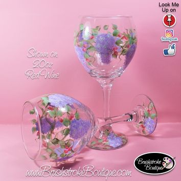 Hand Painted Wine Glass - Wisteria - Original Designs by Cathy Kraemer