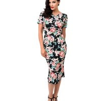 Collectif 1940s Style Black Floral Short Sleeve Magdalena Fitted Fishtail Dress