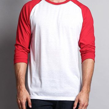 Men's Baseball T-Shirt TS900 (White/Red) - B12C