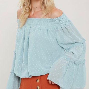 smocked sheer off the shoulder bell sleeved swiss dot top - mint