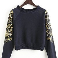 Streetstyle  Casual Black Plain Embroidery Long Sleeve Knit Sweater