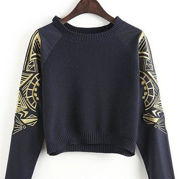 Casual Black Plain Embroidery Long Sleeve Knit Sweater