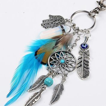 Natural Opal Stone Dreamcatcher Keychain