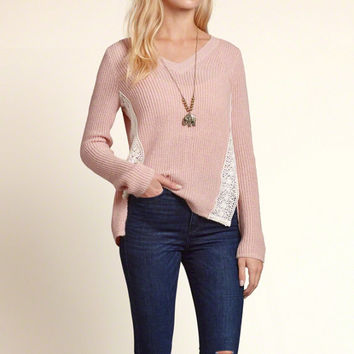 Lace Detail V Neck Pullover