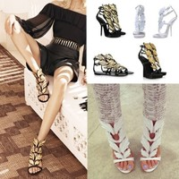 Womens Pumps Gold Angle Wings High Stiletto Heels Gladiator Sandals Party Shoes