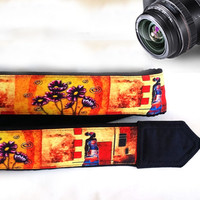 African Camera Strap. Ethnic Camera Strap. Flowers Camera Strap. Camera Accessories