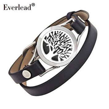 Everlead Love Tree of life Bracelets Real Leather Essential Oil Diffuser Locket Bracelets