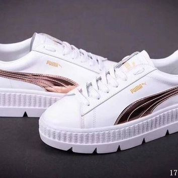 DCCKIJ2 Puma x Fenty by Rihanna Cleated Creeper Suede Flatform Shoes White Brown