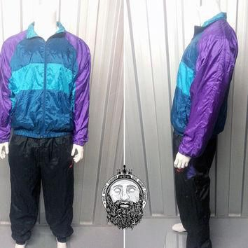Vintage 80s Puma Blue Teal Purple Windbreaker Jacket Tracksuit Jacket Retro Sportswear