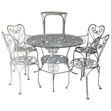 Wrought-Iron Outdoor Dining Set, France, circa 1950s