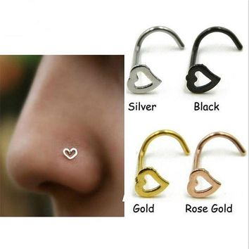 ac PEAPO2Q Stainless Steel Silver Gold Nose Open Hoop Ring Earring Body Piercing Heart Nose Studs Women Men Studs Jewelry Drop Shipping