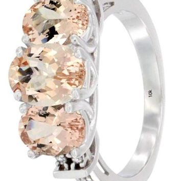 CERTIFIED 1.805 ctw 10K White Gold Natural Morganite Ring 3-Stone Oval Diamond