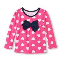 Toddler Girls Long Sleeve Heart Print 3D Bow Top | The Children's Place