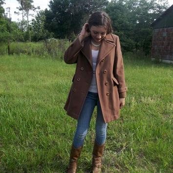 Vintage Double Breasted Brown Wool Peacoat - Mackintosh of New England - Vintage Women's 8-10
