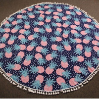 Round Pineapple Tassel Beach Blanket Towel - Pink