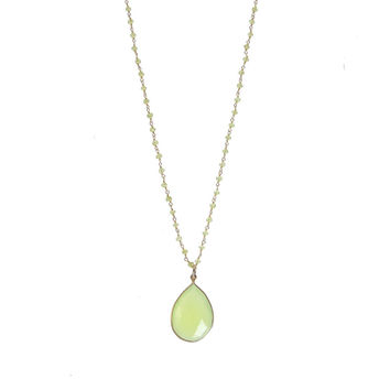 Prehnite and Green Chalcedony Wirewrapped Bead Necklaces - Layered Gemstone Necklace