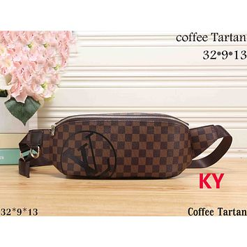 LV Louis Vuitton Women's High Quality Fashionable Printed Leather Tote F-KR-PJ Coffee tartan