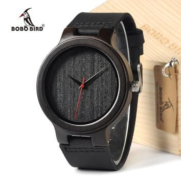 BOBOBIRD EC22 Top Quality Men's Black Sandal Wood Watches Luxury Brand Design Men's Dress Watches With Geniune Leather Bands