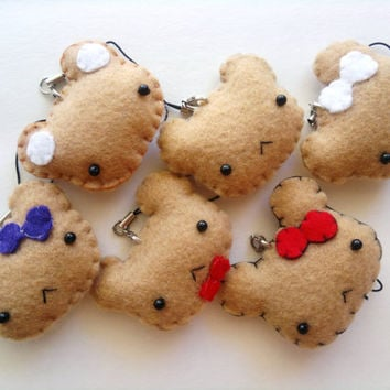 Assorted Teddy Bear - Felt Phone Charm, Keychain, and Christmas Ornament