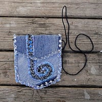 Blue Jeans Cross Body Bag - Upcycled Denim Hip Bag - Small Purse
