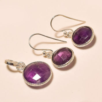 925 Sterling Silver Amethyst Round Shape Pendant Set Handmade Pendant Set Gemstone Pendant Set Silver Pendant With Earings