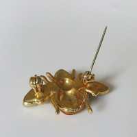 Vintage Bee Pin, Enamel & Rhinestone Scatter Pin, Honey Bee, Insect, Bug, Cute!